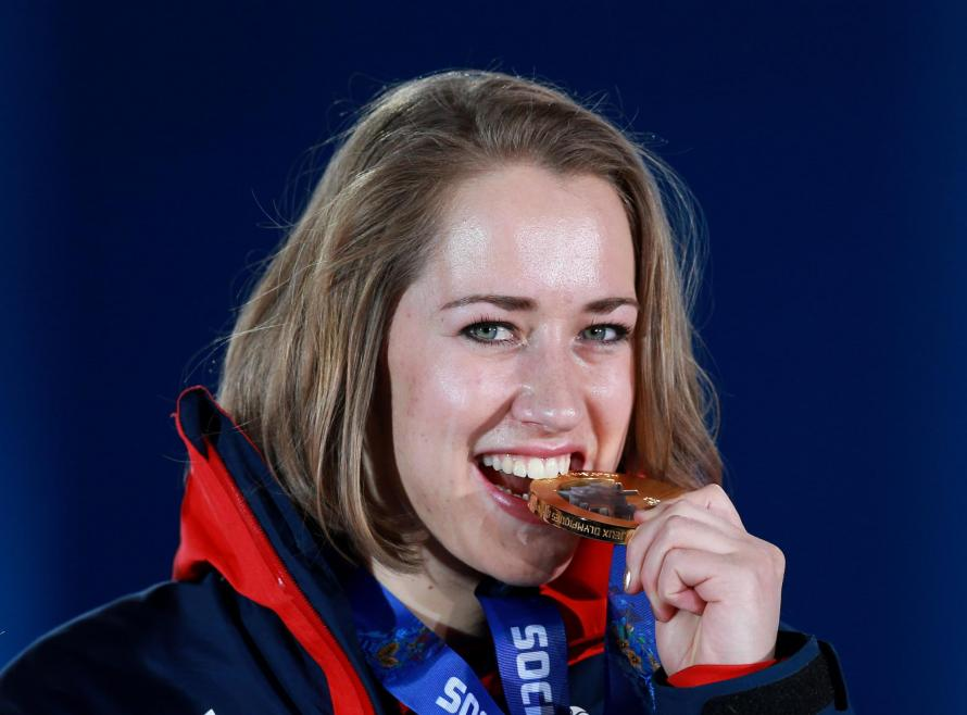 Great Britain's Lizzy Yarnold with her Gold medal she won in the Women's Skeleton, during the Medal Ceremony at the Medals Plaza, at the 2014 Sochi Olympic Games in Sochi, Russia.